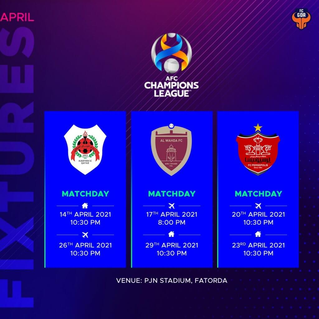FC Goa's ACL Fixtures